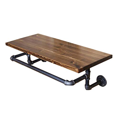 Wandrekken drijvende rekken ladder rek retro industrieel water buis rek woonkamer massief hout boekenrek Xuanguan ophangsysteem bar plank laden gewicht 50 kg zwart