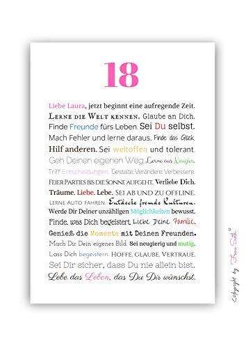 18. Geburtstag – Geschenkidee zur Volljährigkeit – Personalisiertes Bild mit Rahmen – Geburtstagsgeschenk für Mädchen/Frauen oder Beigabe zum Geldgeschenk, Kunstdruck, DIN A4 - 8