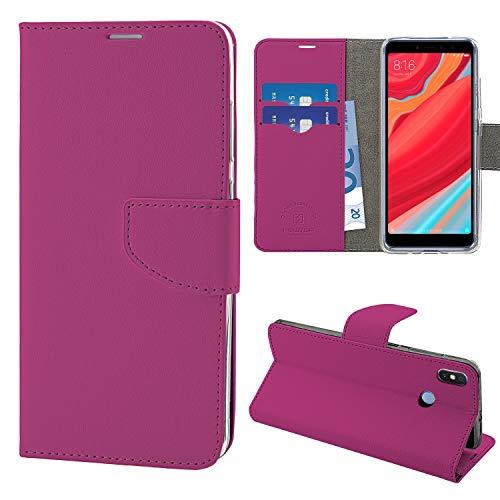N NEWTOP Cover Compatibile per Xiaomi Redmi S2, HQ Lateral Custodia Libro Flip Chiusura Magnetica Portafoglio Simil Pelle Stand (Fucsia)