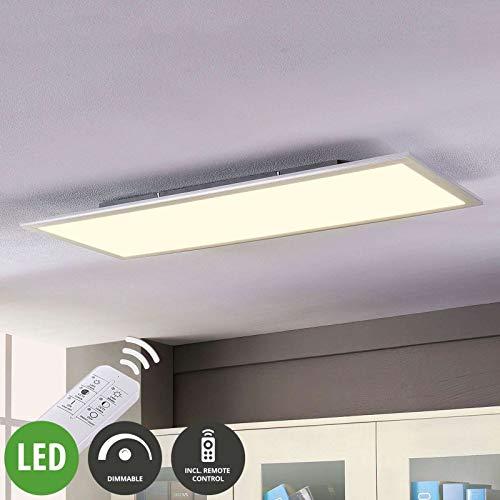 Lampenwelt LED Panel 'Livel' dimmbar mit Fernbedienung (Modern) in Weiß u.a. für Küche (1 flammig, A+, inkl. Leuchtmittel) - Bürolampe, Deckenlampe, Deckenleuchte, Lampe, Küchenleuchte