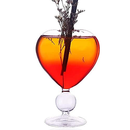 DXQDXQ Crystal Vasos de Cóctel de 250 ml Copas de Burbujas de Vidrio Forma de Corazón Recipiente sin Plomo para Fiesta Casa para Vino Blanco Tinto Champán Cerveza Jugo Cristalería (Color : A)