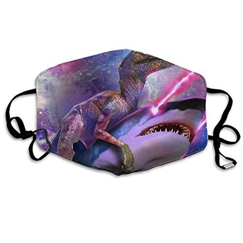 Gesichtsbedeckung Komfortable verstellbare Galaxie Raum Lustige Dinosaurier Reiten Laser Hai Gesichtsdekorationen für Frauen und Männer