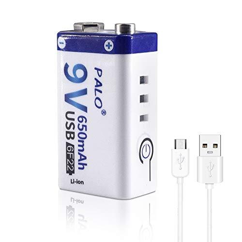 CITYORK USB 9V 650mAh Li-Ionen-Akku mit USB-Kabel für Tastatur, Mikrofon, Rauchmelder, Universalfernbedienungen - 1er-Pack USB-Akku & 1 Kabel