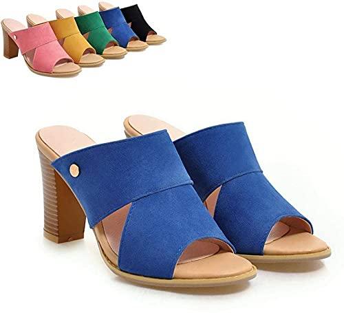 Sandalias de Mujer Sandalias de Moda Tacón Alto Tacón Alto Tallo de Gran tamaño Slippers Slippers Antideslizantes Flip Flob Apto para Interiores y Exteriores-Azul_37 Excellent