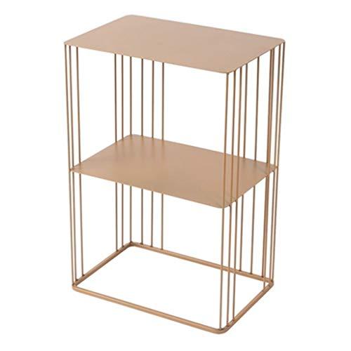 Tables basses Côté Canapé Fer Forgé Double Angle Table De Chevet Support De Rangement De Salle De Bain Support Cadeau (Color : Gold, Size : 44.5 * 30 * 66cm)