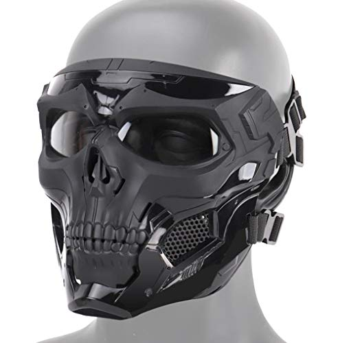 JFFCESTORE Tactical Mask,Protective Full Face Clear Goggle Skull mask Dual Mode Wearing Design Adjustable Strap One Size fits All