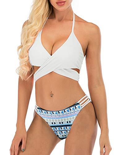 American Trends Damen Zweiteiler Solid String Bikini Set Neckholder-Top mit Band an der Seite unten Tanga Badeanzug - mehrfarbig - 36/38 DE/M