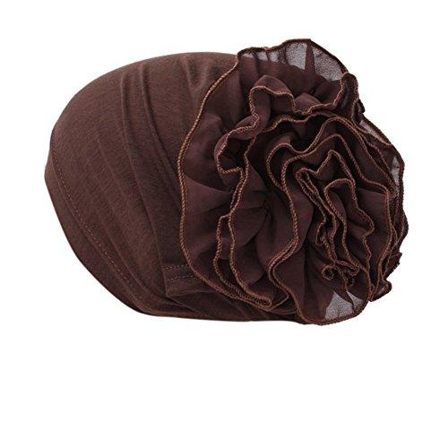 iShine Frau Turban mit Große Blume Einfarbig Kopftuch Chiffon Kopfbedeckung Haarband Chemo Hijab Muslim Elastische Hut Damen Weiblichen Mütze Dunkelbraun