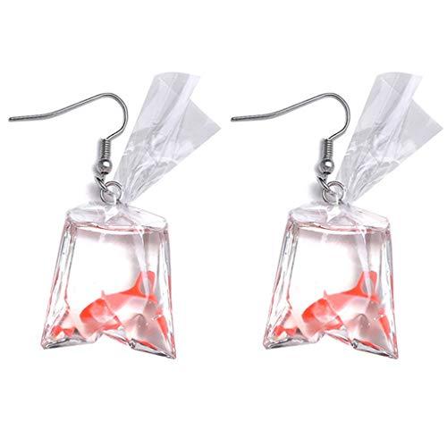 Ogquaton Pendientes Colgantes Divertidos de salmón para Mujeres y niños, Gancho para la Oreja Rojo, Gancho para la Oreja Muy práctico y Popular