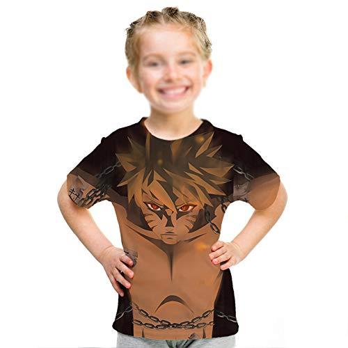 weiwei Japón Anime Naruto 3D Camiseta Masculino Cuello Redondo Dibujos Animados tee Tops Hombres Mujeres Frio Uchiha Sasuke Itachi Harajuku Ropa Cómodo Hip Hop Camiseta,Tall 160cm