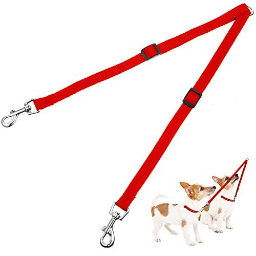Verstellbare Doppelte Haustier Trainer Leine Kein Gewirr Doppelte Hund Doppelte Verteiler Leine Gehen Trainer Leine für Zwei Hunde (Rot)