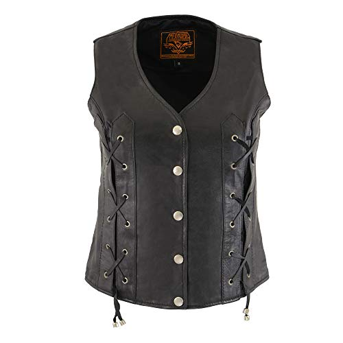 Milwaukee Leather SH1216 Ladies Black Leather Vest with Front Laces and Dual Gun Pockets - 4X-Large