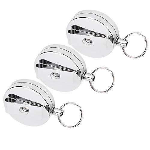 logozoee Keychains, Telescopic Portable Key Clip, Elastic 3Pcs for Key Sports Belt Outdoor