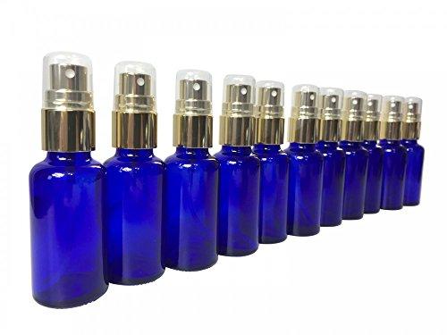 10 x Flacon en verre bleu 30 ml, filetage DIN 18 et bouchon et pompe spray