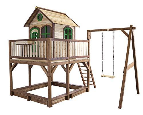 Beauty.Scouts Holzspielhaus Vinny mit Veranda + Rutsche + Leiter + Sandkasten + 1x Schaukel 277x540x291cm aus Holz in braun Kinderspielhaus Holzhaus Stelzenhaus