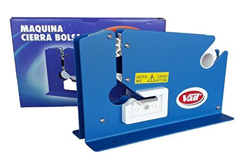 Maquina Cierra Bolsas en Metal Color Azul para Rollos de Cinta Adhesiva de 12 Milimetros