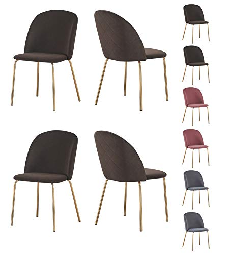 Set of 4 Velvet Dining Chairs with golden finish Metal Legs Living Room Chair Dale (Taupe)