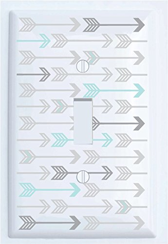 Seafoam Green and Grey Arrow Print Pattern Single Toggle Light Switch Plate Covers/Arrows Woodland Forest Nursery Wall Decor for Baby (Single Toggle)