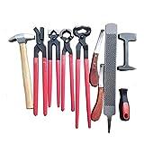QHWJ Caballo Farrier Hoof Trim Tool Kit, 9 PCS Professional Caballos Hoof Care Herramienta Set Horseshoe Care