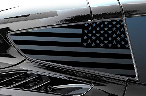 Factory Crafts Window Graphics Kit Vinyl Decal Wrap Compatible with Chevrolet Corvette C7 Stringray 2014-2019 - USA American Flag