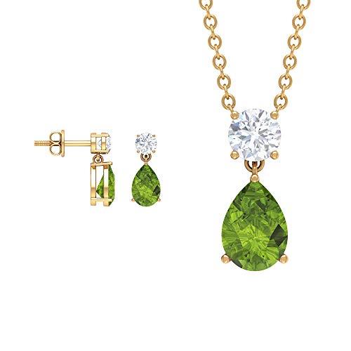 Rosec Jewels 14 quilates oro amarillo pera Round Brilliant Green Moissanite Peridoto/Olivino
