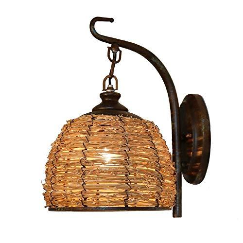 HDDD wandlamp van smeedijzer voor de woonkamer landelijke stijl Amerikaanse rustieke slaapkamer creatief design wandlamp van rotan handgevlochten E27