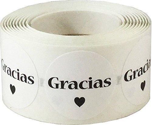 Blancas Gracias Pegatinas, 25 mm 1 Pulgadas Etiquetas Circulares 500 Paquete