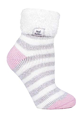 HEAT HOLDERS - Damen Fleece Flauschig Gestreift Thermo Kuschelsocken (37/42, Cream/Light Grey (S TOT))