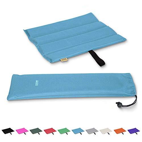Mister Mountain® Outdoor Iso-Sitzkissen 31x35x1,2cm Leicht Faltbar & Waschbar. Thermokissen, Sitzmatte Inklusive Tasche. Sitzkissen mit Schutz vor Kälte, Nässe, Schmutz & Hitze. (Blau)