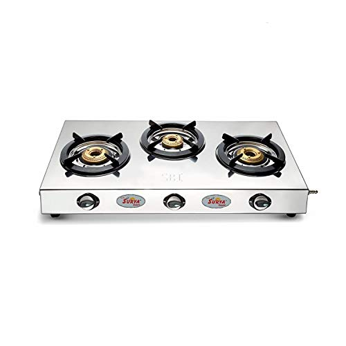 Surya Shakti ShriBalaJi Shining Flame Classic Stainless Steel 3 Burner Gas Stoves