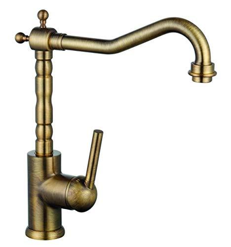 EYCKHAUS 19286 OXFORD Spültischarmatur, Wasserhahn Küche Niederdruck, Energiesparfunktion, 360° schwenkbarer Auslauf, Ideal für Doppelspülbecken Messing gebürstet