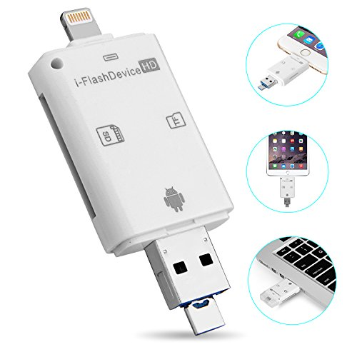 Hltd 3-in-1 USB i-flash Drive High Speed Lightning micro SD SDHC TF Card Reader memory stick Pen Drive per iPhone 5/6/6S/7/iPad/iPod/iTouch/Mac/PC