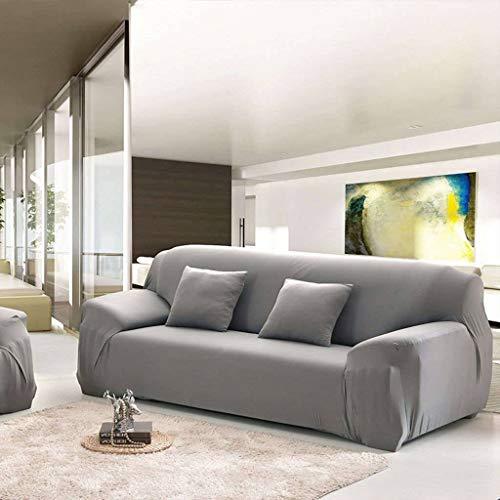 SLOUD Funda de sofá, para 1,2,3,4 Asiento, Spandex Stretch, con Dos Fundas de Almohada, Funda de sofá Antideslizante-Gris-2 plazas