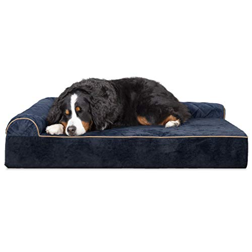 Furhaven Pet Dog Bed | Deluxe Orthopedic Goliath Quilted Faux Fur & Velvet L Shaped Chaise Lounge Living Room Corner Couch Pet Bed w/Removable Cover for Dogs & Cats, Dark Blue, 3XL