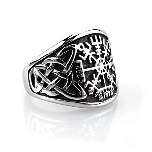 Edelstahl Ring Vegvisir mit Keltischen Knoten - Silber