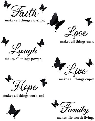 6 Pieces Faith Hope Love Laugh Family Live Wall Decal Sticker Motivational Wall Decal Sticker product image