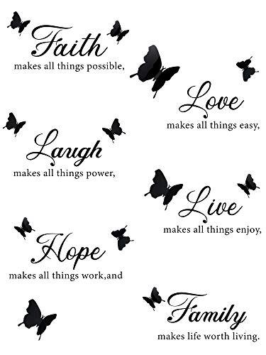 6 Piezas Pegatinas Calcomanía de Pared de Motivacional de Faith Hope Love Laugh Family Live con 12 Piezas Calcomanías de Mariposa 3D Juego de Pegatinas de Inspiración de Citas pare Decoración Casa