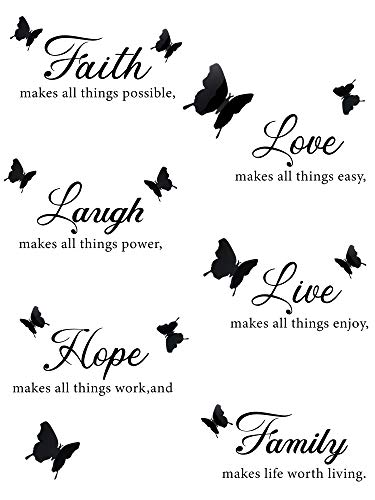 6 Pieces Faith Hope Love Laugh Family Live Wall Decal Sticker Motivational Wall Decal Sticker with 12 Pieces 3D Butterfly Decal Inspirational Quotes Sticker Set for Home Office Decor Black