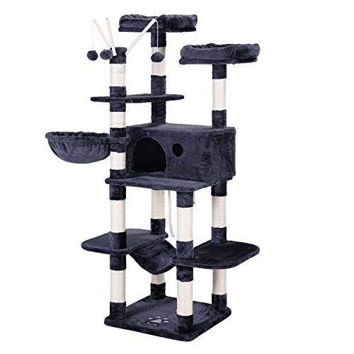 FEANDREA Cat Tree, Large Cat Tower, 64.6 Inches, Cat Activity Center with Hammock, Basket, Removable Fur Ball Sticks, Cat Condo, Smoky Gray UPCT087G01