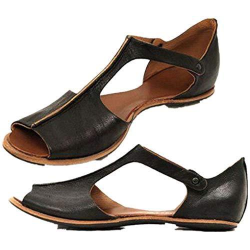 Übergroßer Sandalen für Damen/Dorical Frauen Sommer Retro-Peep-Toe-Sandalen mit seitlicher Abdeckung Damenschuhe Mode einfache PU-Leder Schuhe rutschfest 35-43 EU Ausverkauf (35 EU, Z05-Schwarz)