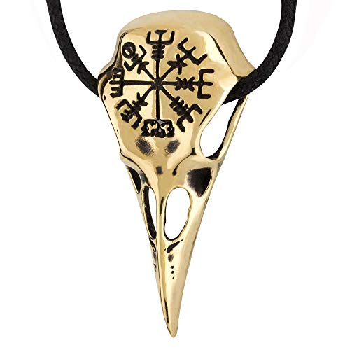 Bronze Raven Skull Necklace with Viking Compass Vegvisir Pendant Bird Crow Odin Norse Animal Ancient Protection Amulet Talisman Nordic Goth Jewelry for Men Women