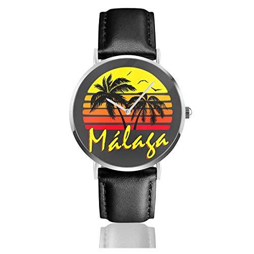 Unisex Business Casual Malaga Vintage Sun Watches Reloj de Cuero de Cu