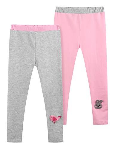 Bricnat - Leggings largos para niña (algodón, cintura alta, 2 unidades) gris + rosa 120 cm