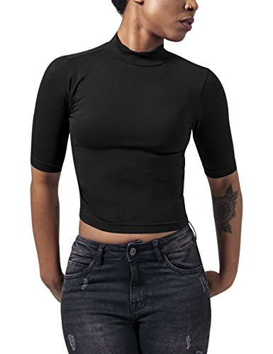 Urban Classics Ladies Cropped Turtleneck tee Camiseta, Negro (Black 7), M para Mujer