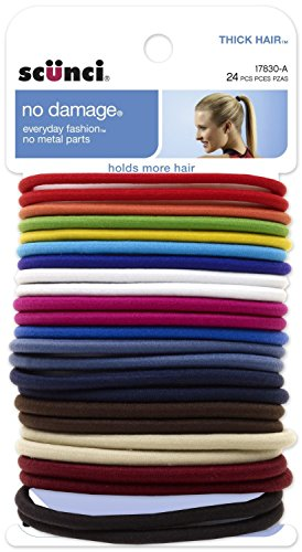 Scunci Effortless Beauty Thick Hair No-damage Bright Elastics, 5 Mm, - 2 Packs Of 24 Count = 48 Count (Assorted colors)