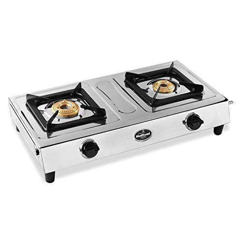 Sunflame Smart Stainless Steel 2 Burner Gas Stove, Manual Ignition, Silver