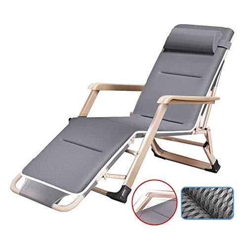 Sillas GCZZYMX de gravedad cero gris de gran tamaño XL con almohadilla transpirable, tumbonas reclinables resistentes para playa camping jardín, soporte de 300 libras