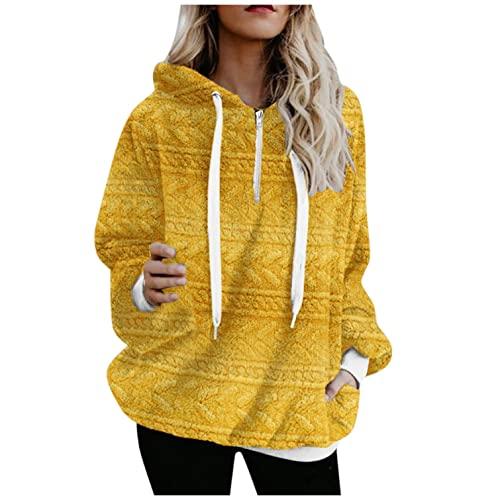 Hoodies for Women, Womens Fleece Hooded Sweatshirts Quarter Zipper Pocket Fuzzy Hoodie Pullover Sweaters Fluffy Coats