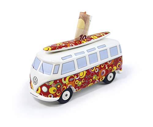 Brisa VW Collection - Volkswagen Furgoneta Hippie Bus T1 Van Hucha Vintage de Cerámica en Caja de Regalo, Caja de Dinero Reutilizable, Alcancía como Souvenir (Escala 1:18/Círculos/Rojo)