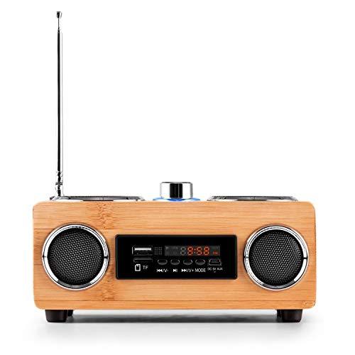 Radio BamBoost 3G mini poste de radio portable avec tuner FM, ports USB, SD compatibles MP3 / WAV, prise AUX, égaliseur, design bois, télécommande incluse